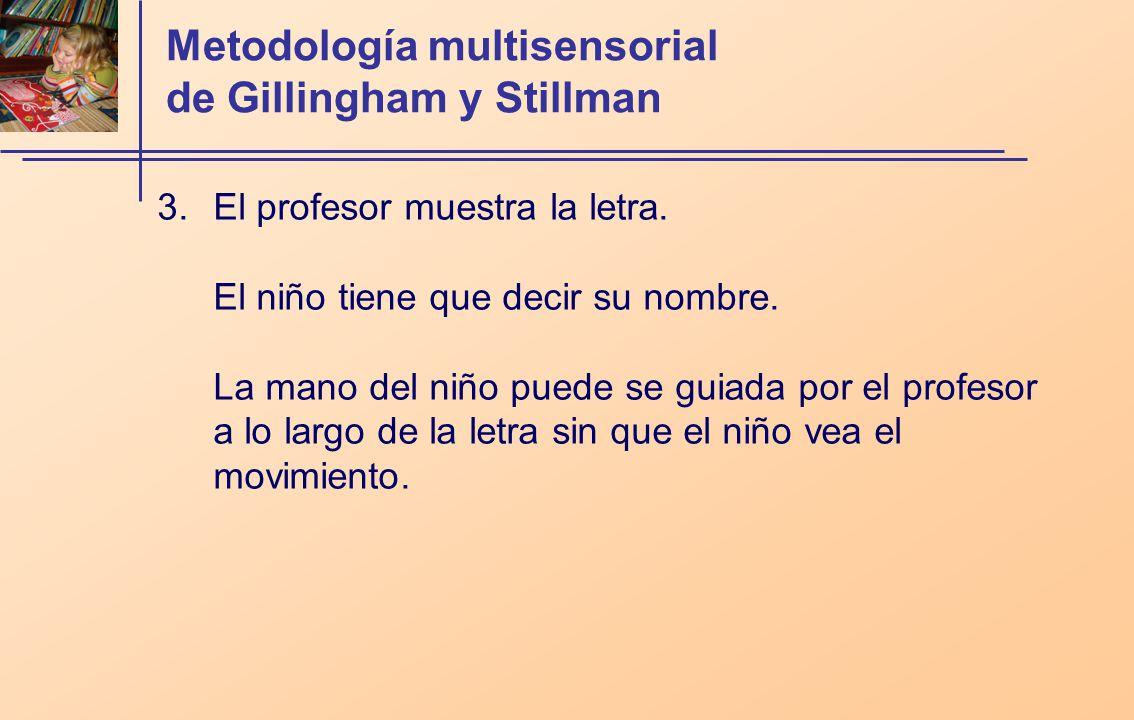 Metodología multisensorial de Gillingham y Stillman 3.El profesor muestra la letra. El niño tiene que decir su nombre. La mano del niño puede se guiad