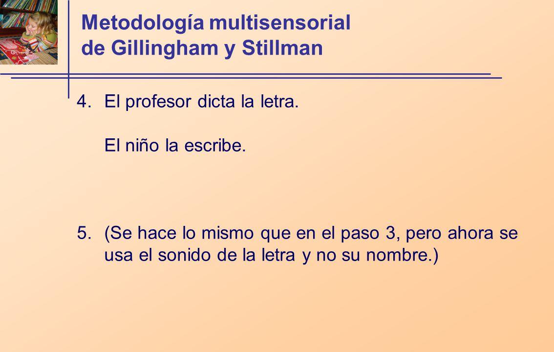 Metodología multisensorial de Gillingham y Stillman 4.El profesor dicta la letra. El niño la escribe. 5.(Se hace lo mismo que en el paso 3, pero ahora