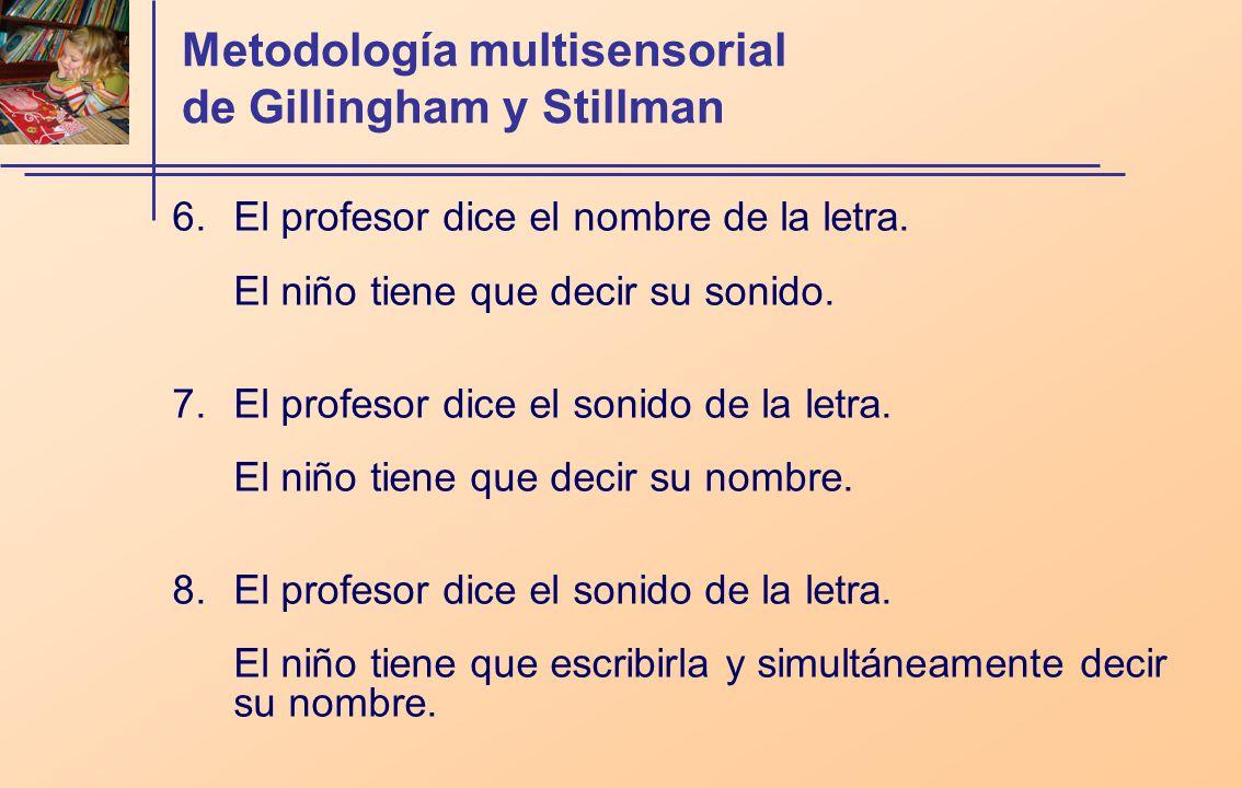 Metodología multisensorial de Gillingham y Stillman 6.El profesor dice el nombre de la letra. El niño tiene que decir su sonido. 7.El profesor dice el