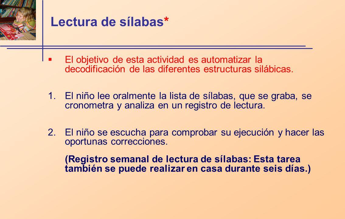 Lectura de sílabas* El objetivo de esta actividad es automatizar la decodificación de las diferentes estructuras silábicas. 1.El niño lee oralmente la