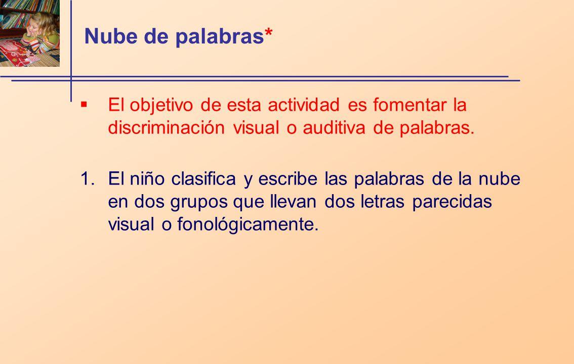 Nube de palabras* El objetivo de esta actividad es fomentar la discriminación visual o auditiva de palabras.
