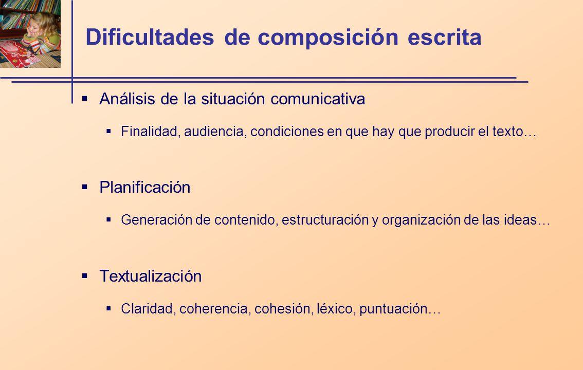 Dificultades de composición escrita Análisis de la situación comunicativa Finalidad, audiencia, condiciones en que hay que producir el texto… Planific
