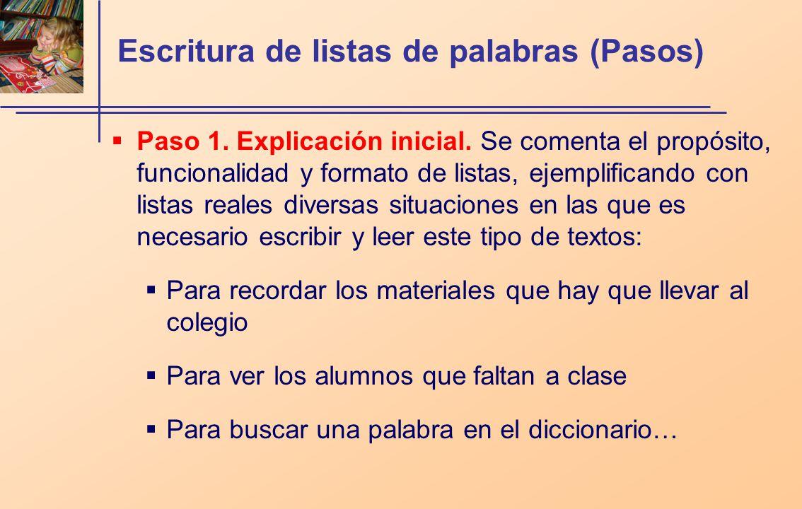 Escritura de listas de palabras (Pasos) Paso 1. Explicación inicial. Se comenta el propósito, funcionalidad y formato de listas, ejemplificando con li