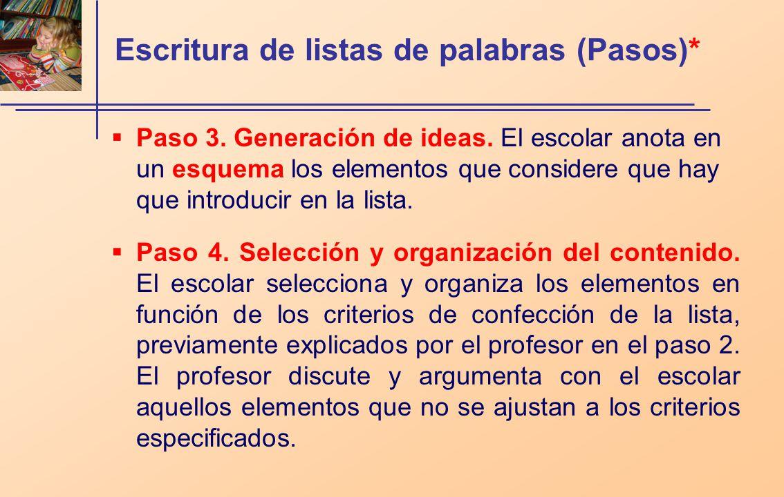 Escritura de listas de palabras (Pasos)* Paso 3. Generación de ideas. El escolar anota en un esquema los elementos que considere que hay que introduci