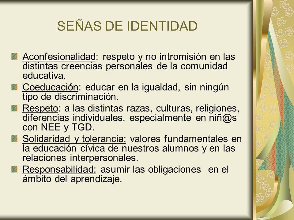 SEÑAS DE IDENTIDAD Aconfesionalidad: respeto y no intromisión en las distintas creencias personales de la comunidad educativa. Coeducación: educar en
