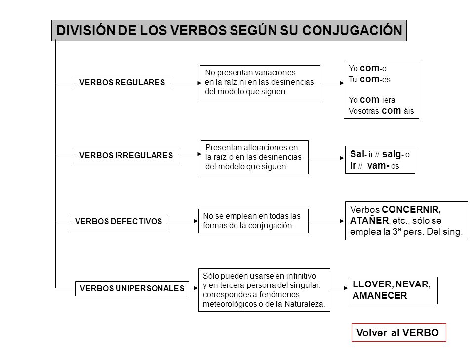 DIVISIÓN DE LOS VERBOS SEGÚN SU CONJUGACIÓN Volver al VERBO VERBOS REGULARES VERBOS IRREGULARES VERBOS DEFECTIVOS VERBOS UNIPERSONALES No presentan variaciones en la raíz ni en las desinencias del modelo que siguen.