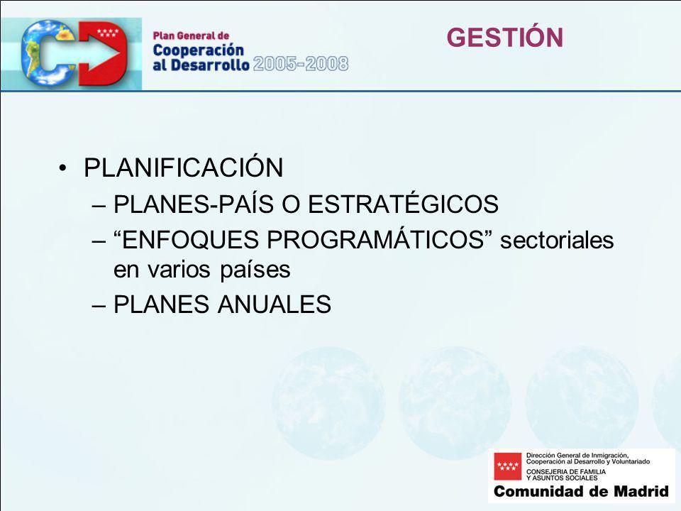 GESTIÓN PLANIFICACIÓN –PLANES-PAÍS O ESTRATÉGICOS –ENFOQUES PROGRAMÁTICOS sectoriales en varios países –PLANES ANUALES