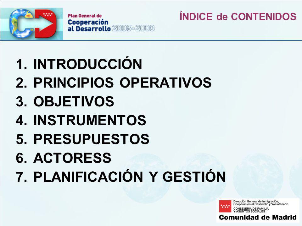 ÍNDICE de CONTENIDOS 1.INTRODUCCIÓN 2.PRINCIPIOS OPERATIVOS 3.OBJETIVOS 4.INSTRUMENTOS 5.PRESUPUESTOS 6.ACTORESS 7.PLANIFICACIÓN Y GESTIÓN