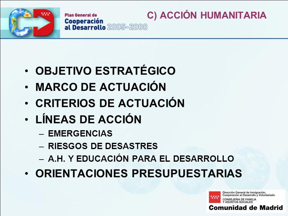 C) ACCIÓN HUMANITARIA OBJETIVO ESTRATÉGICO MARCO DE ACTUACIÓN CRITERIOS DE ACTUACIÓN LÍNEAS DE ACCIÓN –EMERGENCIAS –RIESGOS DE DESASTRES –A.H.