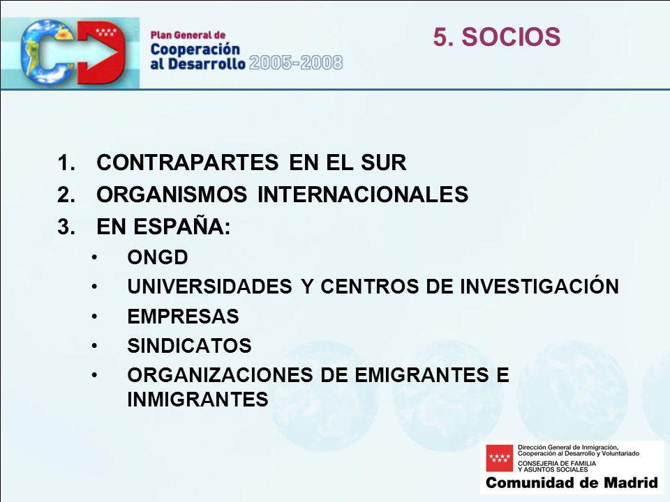 5. SOCIOS 1.CONTRAPARTES EN EL SUR 2.ORGANISMOS INTERNACIONALES 3.EN ESPAÑA: ONGD UNIVERSIDADES Y CENTROS DE INVESTIGACIÓN EMPRESAS SINDICATOS ORGANIZ