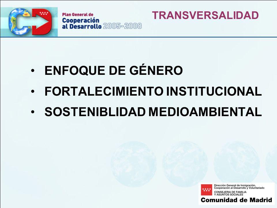 TRANSVERSALIDAD ENFOQUE DE GÉNERO FORTALECIMIENTO INSTITUCIONAL SOSTENIBLIDAD MEDIOAMBIENTAL