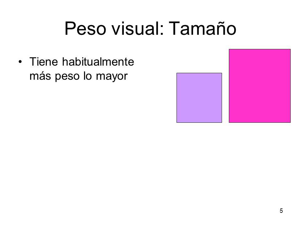 6 Peso visual: Tamaño/cantidad Tiene habitualmente más peso lo que posee mayor número de elementos o es más complejo