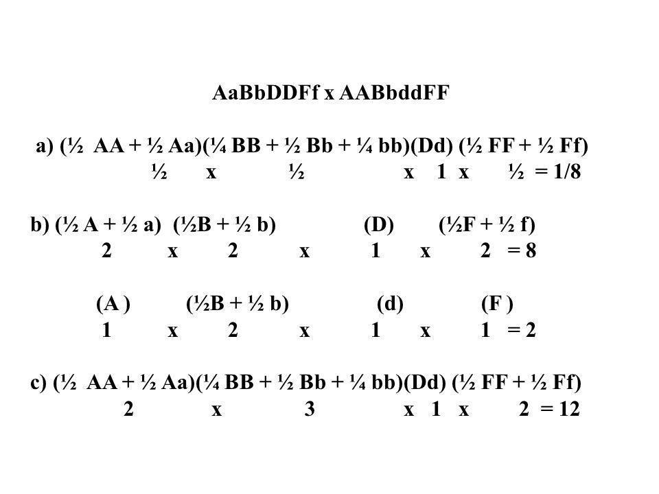 AaBbDDFf x AABbddFF a) (½ AA + ½ Aa)(¼ BB + ½ Bb + ¼ bb)(Dd) (½ FF + ½ Ff) ½ x ½ x 1 x ½ = 1/8 b) (½ A + ½ a) (½B + ½ b) (D) (½F + ½ f) 2 x 2 x 1 x 2