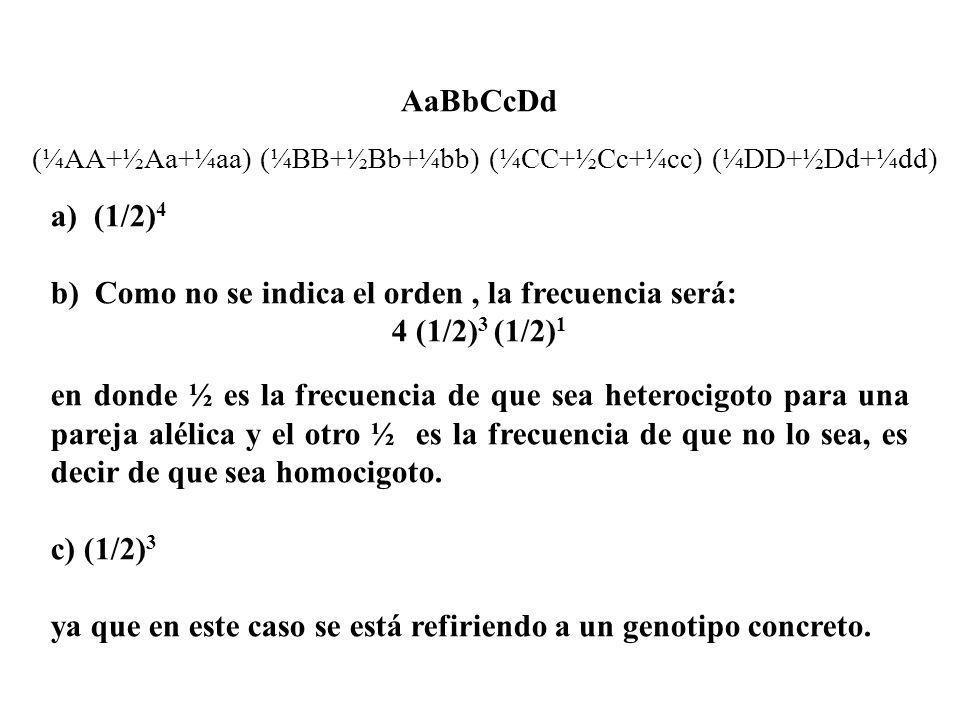 AaBbCcDd a) (1/2) 4 b) Como no se indica el orden, la frecuencia será: 4 (1/2) 3 (1/2) 1 en donde ½ es la frecuencia de que sea heterocigoto para una
