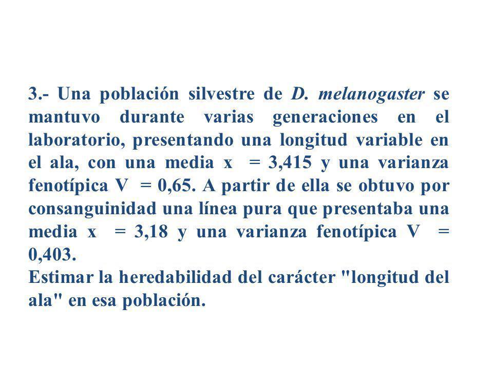 3.- Una población silvestre de D. melanogaster se mantuvo durante varias generaciones en el laboratorio, presentando una longitud variable en el ala,