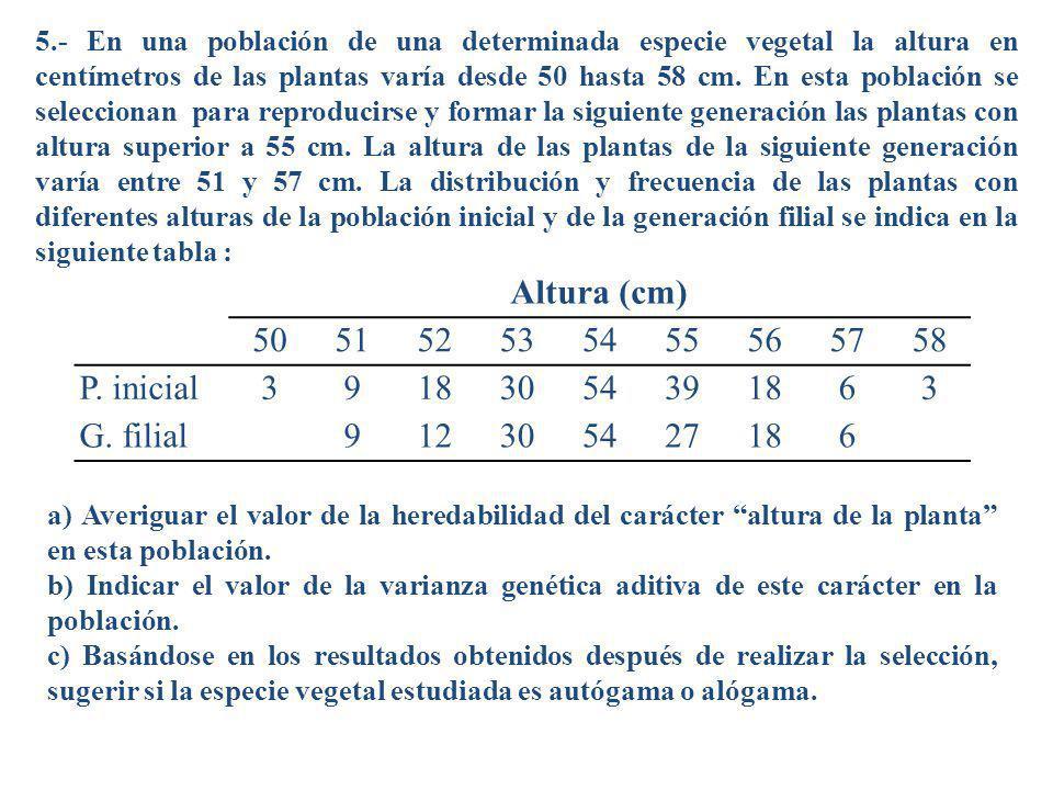 5.- En una población de una determinada especie vegetal la altura en centímetros de las plantas varía desde 50 hasta 58 cm. En esta población se selec