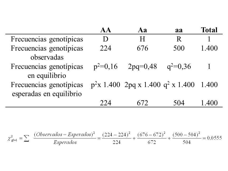 AAAaaaTotal Frecuencias genotípicasDHR1 Frecuencias genotípicas observadas 2246765001.400 Frecuencias genotípicas en equilibrio p 2 =0,162pq=0,48q 2 =