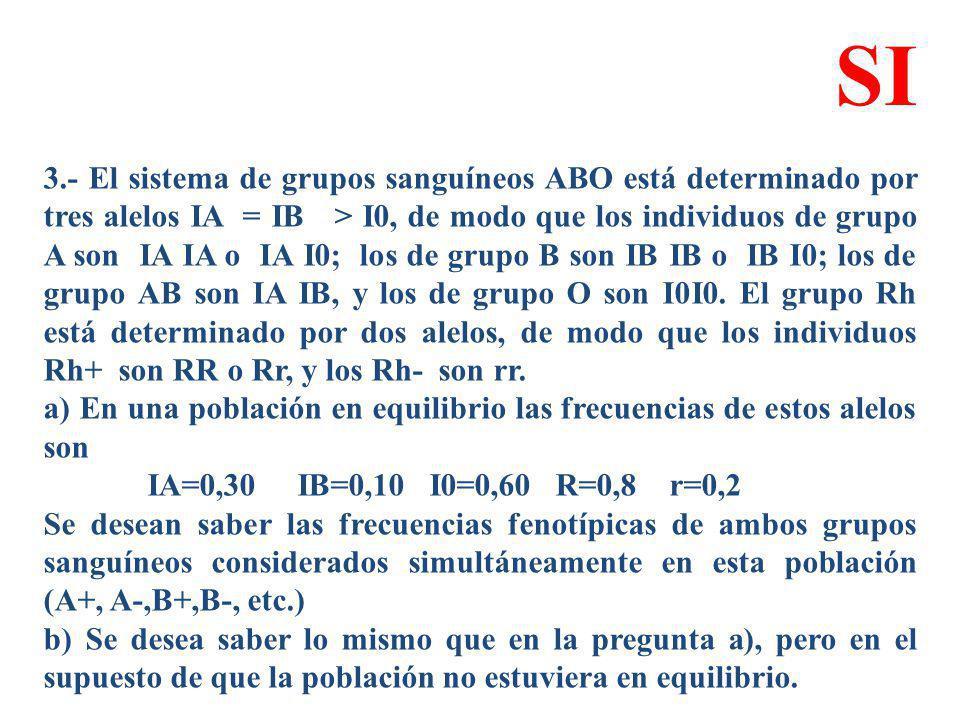 3.- El sistema de grupos sanguíneos ABO está determinado por tres alelos IA = IB > I0, de modo que los individuos de grupo A son IA IA o IA I0; los de