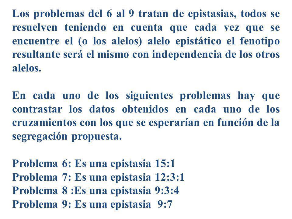 Los problemas del 6 al 9 tratan de epistasias, todos se resuelven teniendo en cuenta que cada vez que se encuentre el (o los alelos) alelo epistático