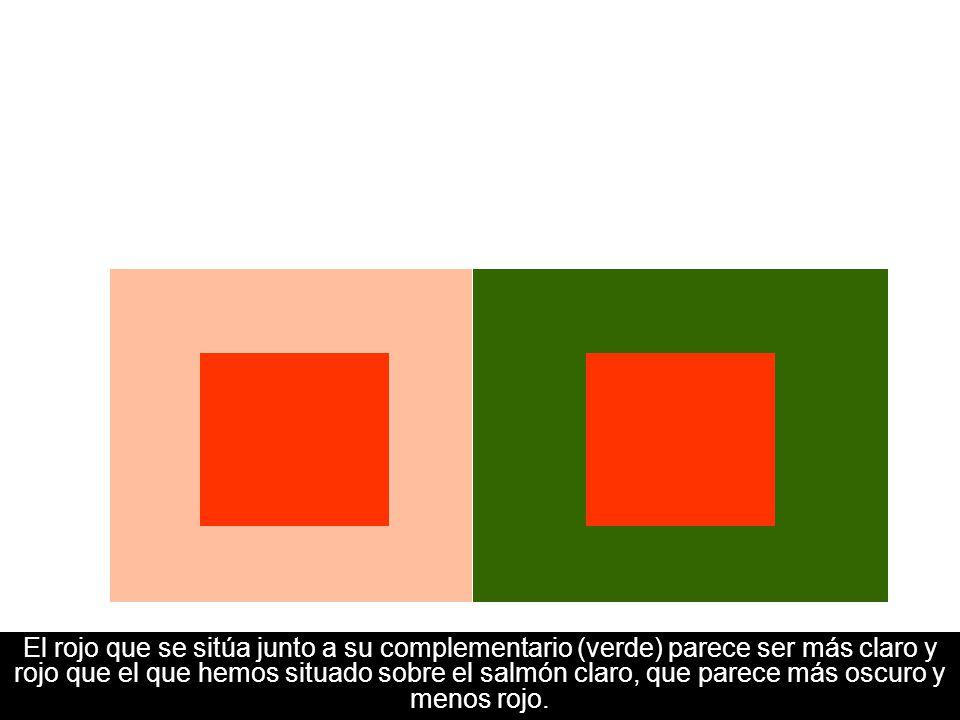 10 Contraste simultáneo de colores El rojo que se sitúa junto a su complementario (verde) parece ser más claro y rojo que el que hemos situado sobre e