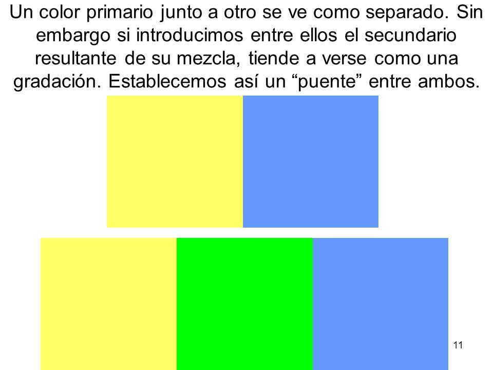 11 Un color primario junto a otro se ve como separado. Sin embargo si introducimos entre ellos el secundario resultante de su mezcla, tiende a verse c