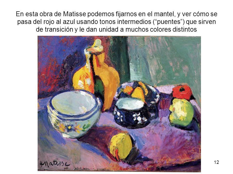 12 En esta obra de Matisse podemos fijarnos en el mantel, y ver cómo se pasa del rojo al azul usando tonos intermedios (puentes) que sirven de transic