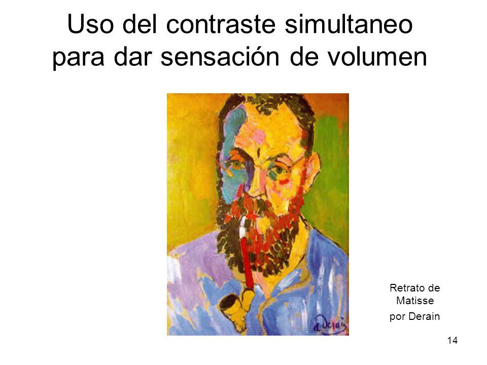 14 Uso del contraste simultaneo para dar sensación de volumen Retrato de Matisse por Derain