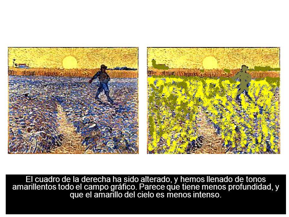 15 Uso del contraste simultáneo para dar sensación de espacio El cuadro de la derecha ha sido alterado, y hemos llenado de tonos amarillentos todo el