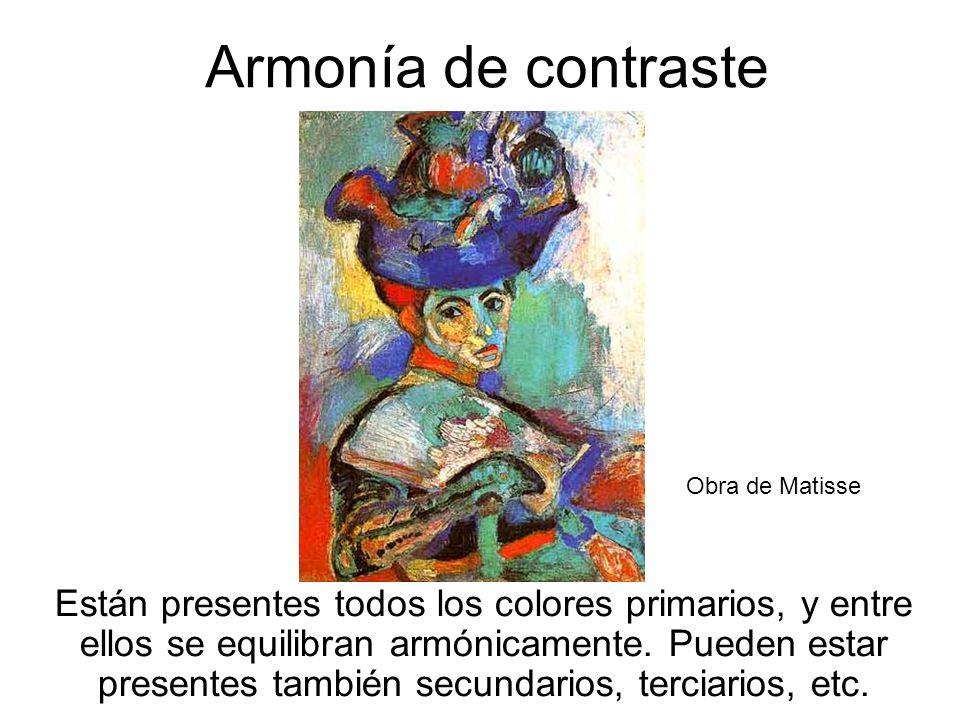 19 Armonía de contraste Están presentes todos los colores primarios, y entre ellos se equilibran armónicamente. Pueden estar presentes también secunda