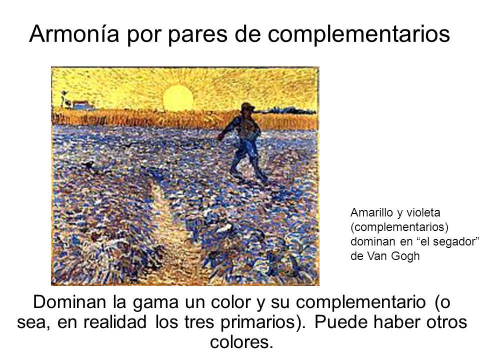 20 Armonía por pares de complementarios Dominan la gama un color y su complementario (o sea, en realidad los tres primarios). Puede haber otros colore