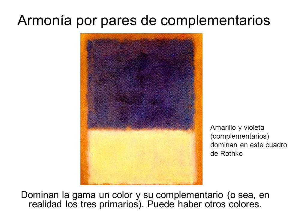 21 Armonía por pares de complementarios Dominan la gama un color y su complementario (o sea, en realidad los tres primarios). Puede haber otros colore