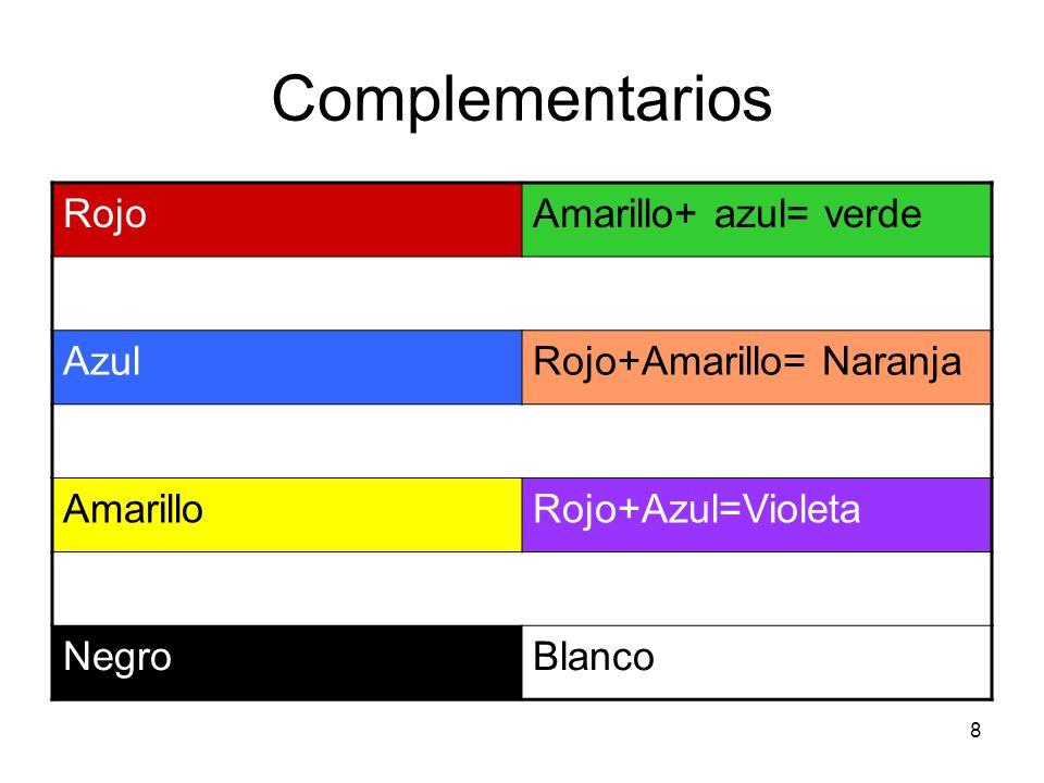 19 Armonía de contraste Están presentes todos los colores primarios, y entre ellos se equilibran armónicamente.