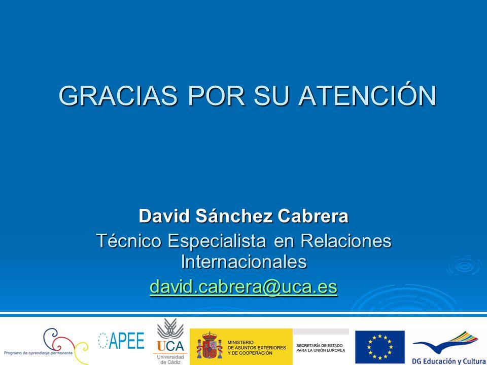 GRACIAS POR SU ATENCIÓN David Sánchez Cabrera Técnico Especialista en Relaciones Internacionales david.cabrera@uca.es david.cabrera@uca.es