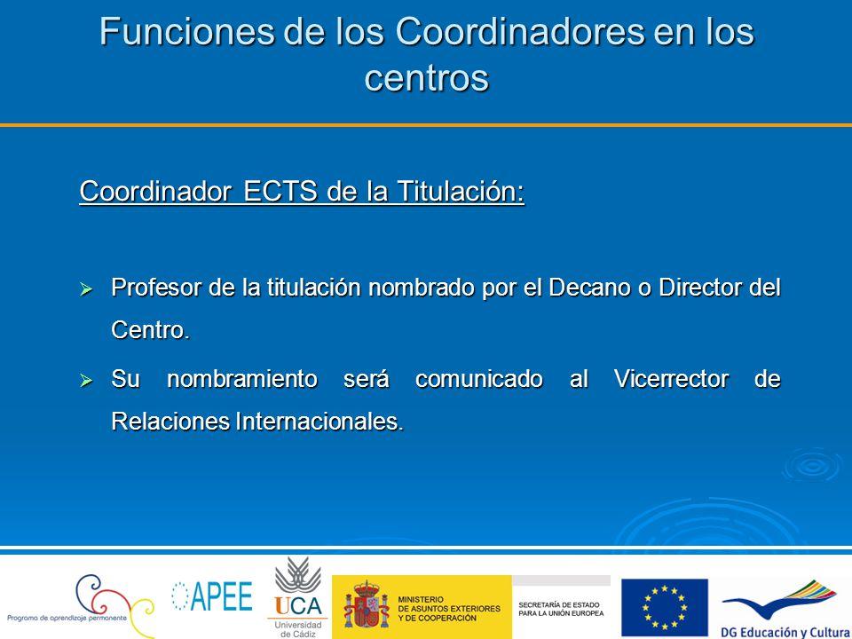 Funciones de los Coordinadores en los centros Funciones del Coordinador ECTS de la Titulación: Divulgar el programa Erasmus en el centro, facilitando al alumnado cuanta información fuera necesaria para el mayor conocimiento de su funcionamiento.