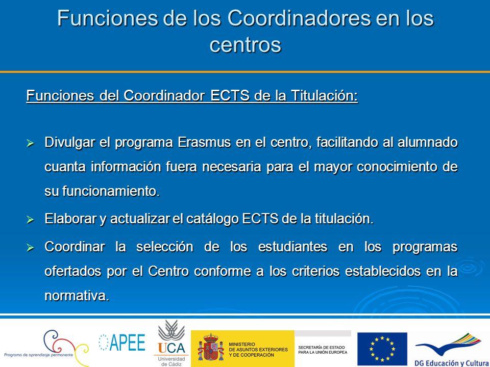 Funciones de los Coordinadores en los centros Funciones del Coordinador ECTS de la Titulación: Visar el plan de estudios a seguir por los alumnos UCA en las Universidades de destino, así como las materias que serán reconocidas en la Universidad de Cádiz por la superación del plan de estudios establecido.