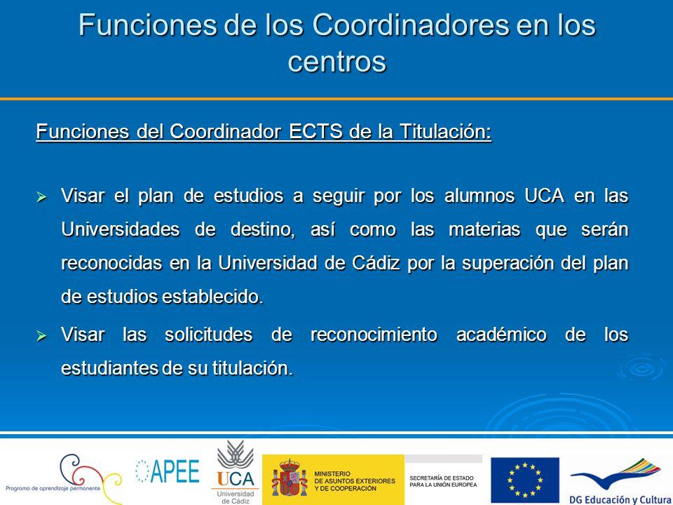 Funciones de los Coordinadores en los centros Funciones del Coordinador ECTS de la Titulación: Visar el plan de estudios a seguir por los alumnos UCA