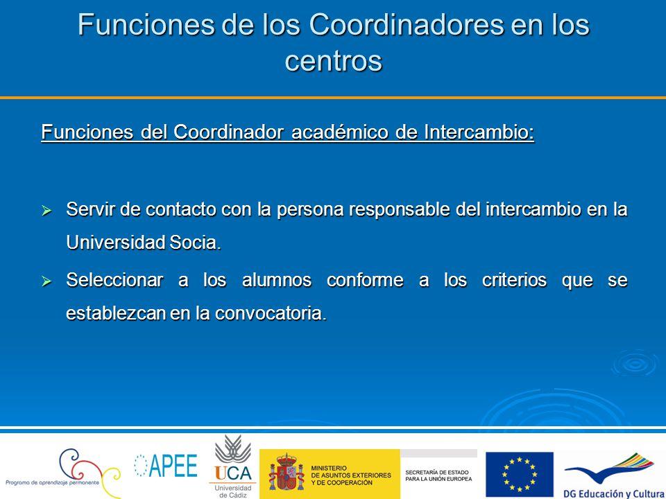 Funciones de los Coordinadores en los centros Funciones del Coordinador académico de Intercambio: Servir de contacto con la persona responsable del in