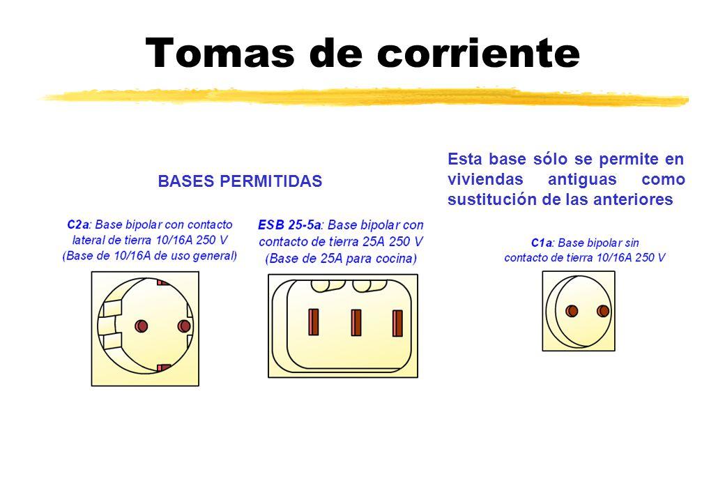 Tomas de corriente BASES PERMITIDAS Esta base sólo se permite en viviendas antiguas como sustitución de las anteriores