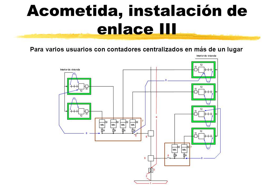 Acometida, instalación de enlace III Para varios usuarios con contadores centralizados en más de un lugar