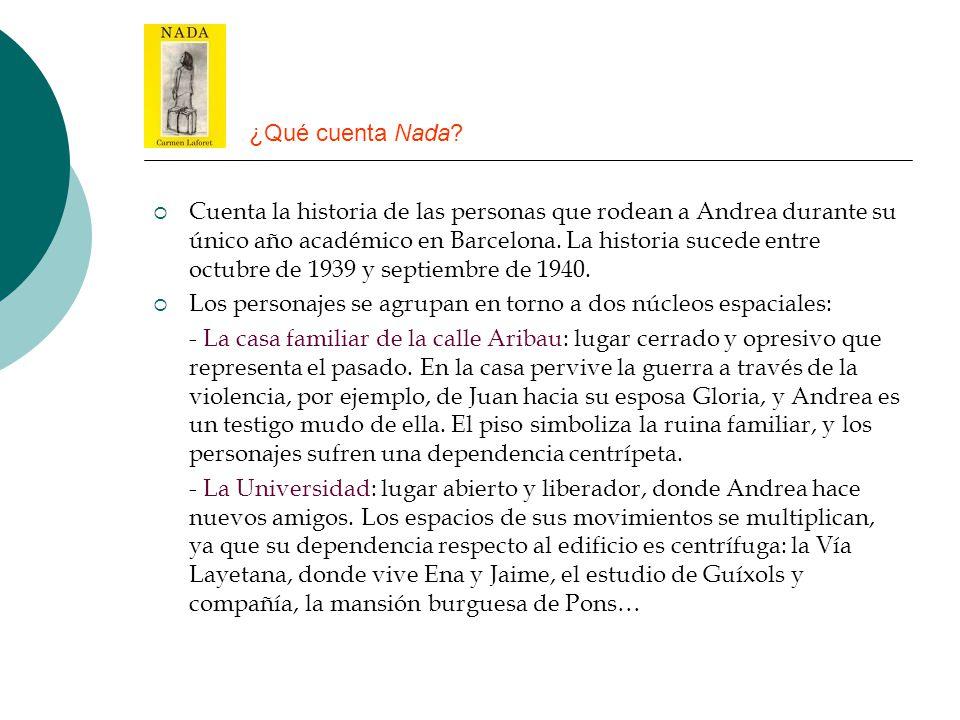 ¿Qué cuenta Nada? Cuenta la historia de las personas que rodean a Andrea durante su único año académico en Barcelona. La historia sucede entre octubre