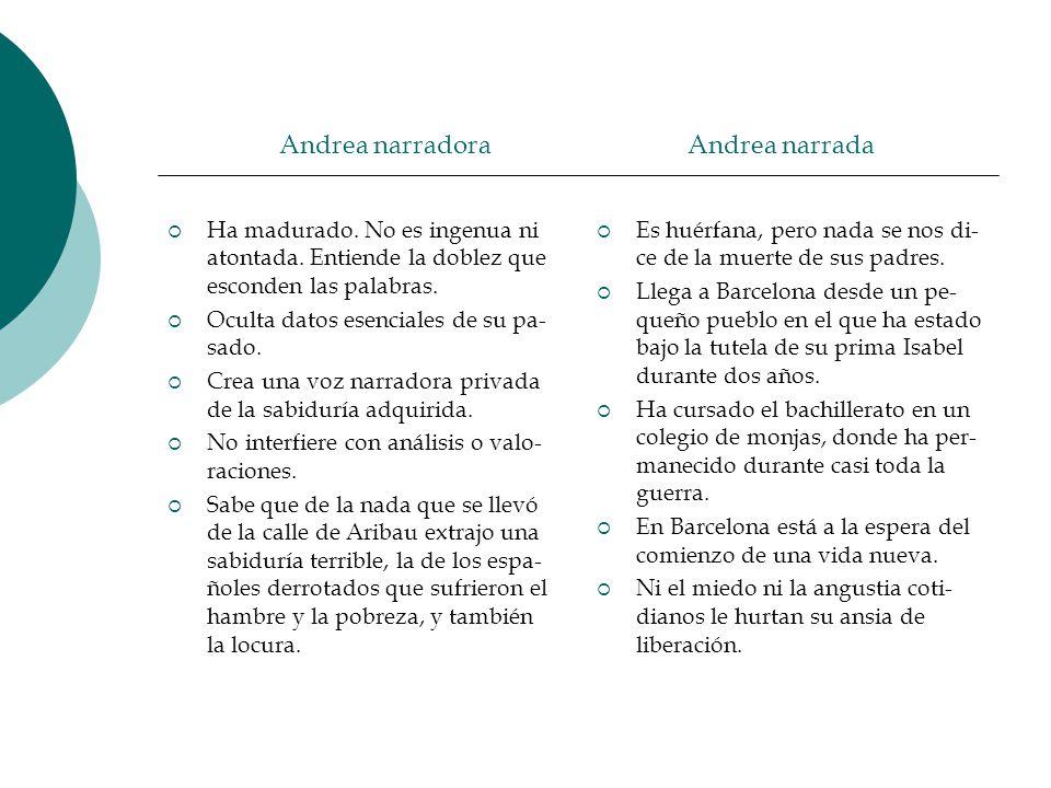 Andrea narradora Andrea narrada Ha madurado. No es ingenua ni atontada. Entiende la doblez que esconden las palabras. Oculta datos esenciales de su pa