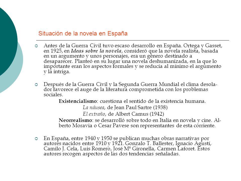 Situación de la novela en España Antes de la Guerra Civil tuvo escaso desarrollo en España. Ortega y Gasset, en 1925, en Ideas sobre la novela, consid