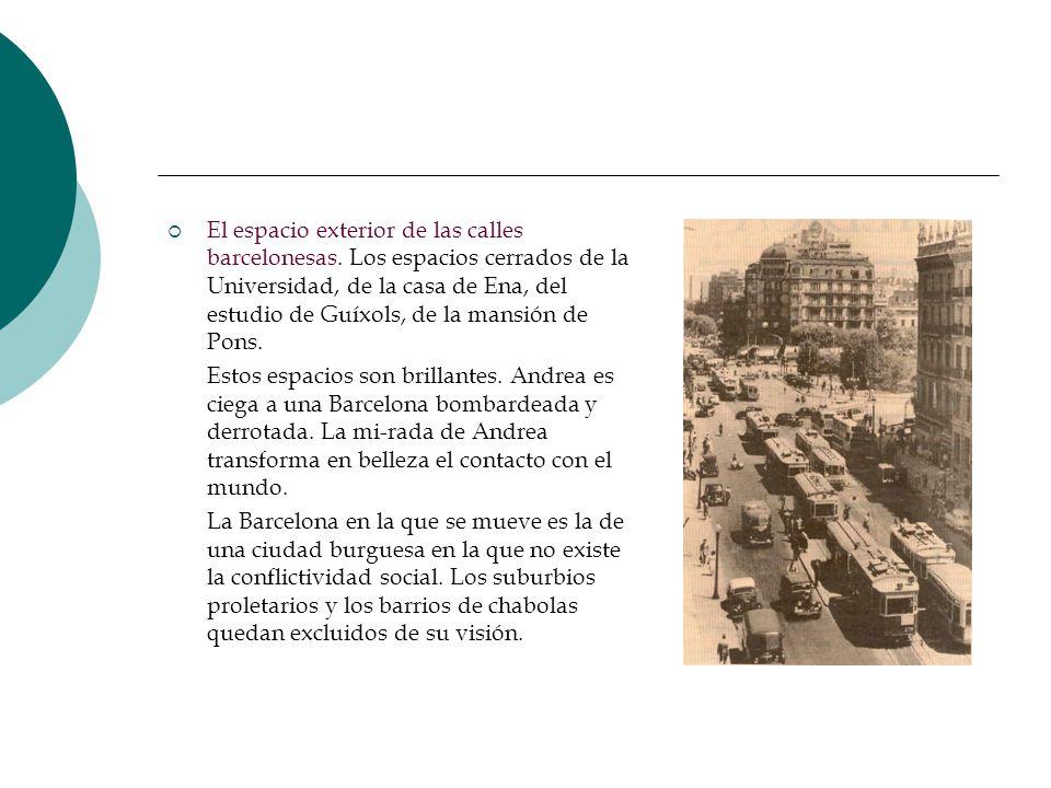 El espacio exterior de las calles barcelonesas. Los espacios cerrados de la Universidad, de la casa de Ena, del estudio de Guíxols, de la mansión de P