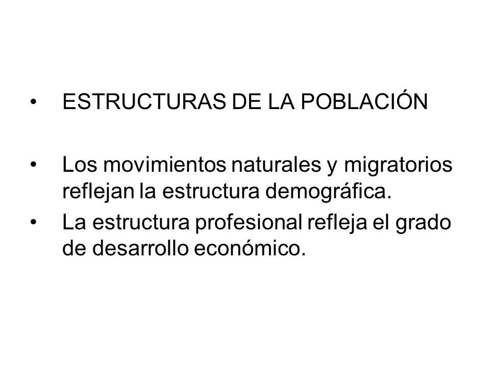 Los movimientos naturales y migratorios reflejan la estructura demográfica. La estructura profesional refleja el grado de desarrollo económico.