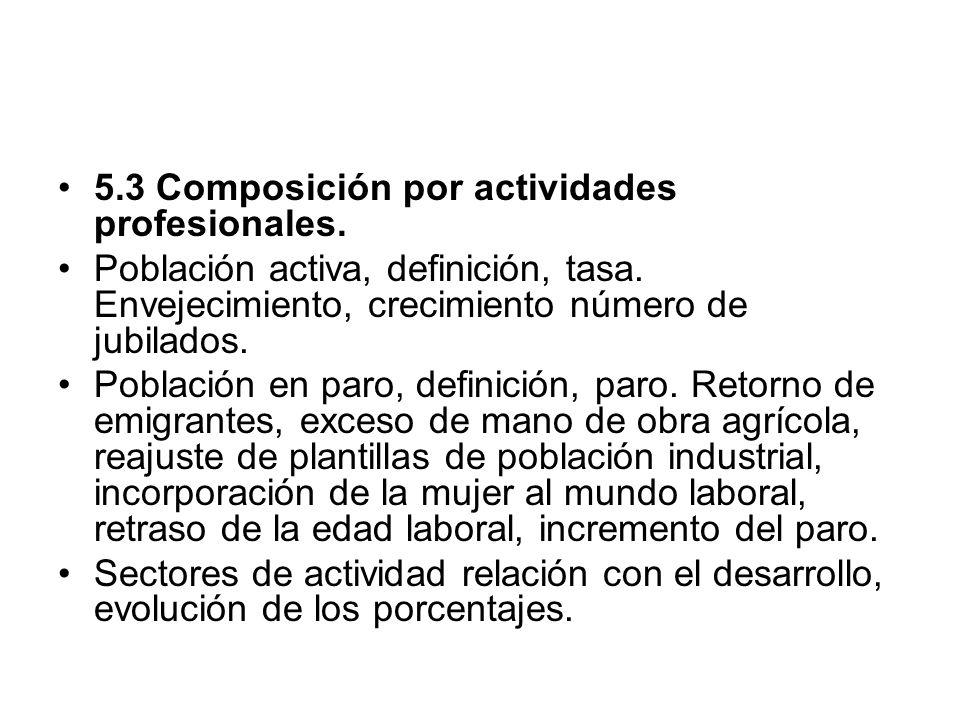 5.3 Composición por actividades profesionales. Población activa, definición, tasa. Envejecimiento, crecimiento número de jubilados. Población en paro,