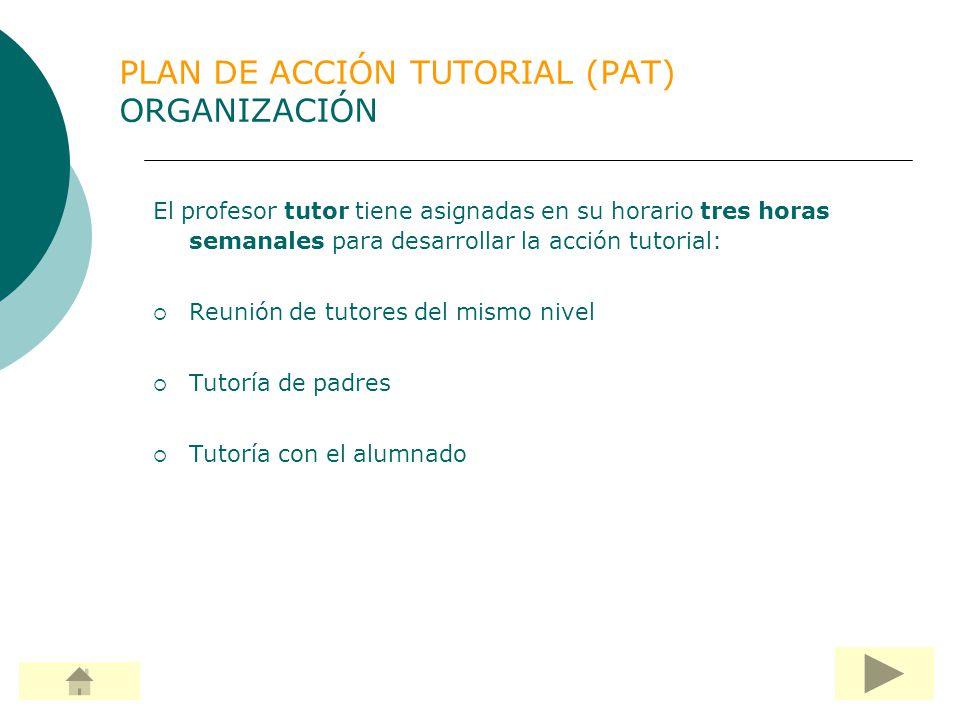PLAN DE ACCIÓN TUTORIAL (PAT) TUTORÍA CON ALUMNOS En ella se desarrollan: Actividades del PAT con el tutor.