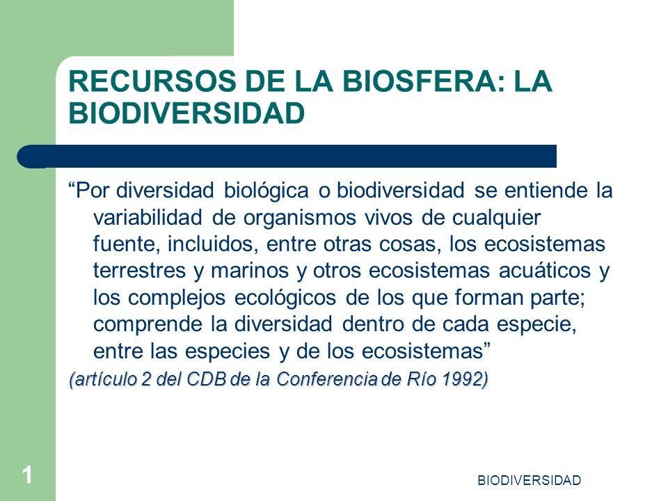 BIODIVERSIDAD 1 RECURSOS DE LA BIOSFERA: LA BIODIVERSIDAD Por diversidad biológica o biodiversidad se entiende la variabilidad de organismos vivos de
