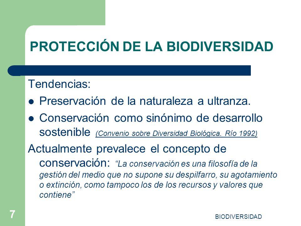 BIODIVERSIDAD 7 PROTECCIÓN DE LA BIODIVERSIDAD Tendencias: Preservación de la naturaleza a ultranza. Conservación como sinónimo de desarrollo sostenib