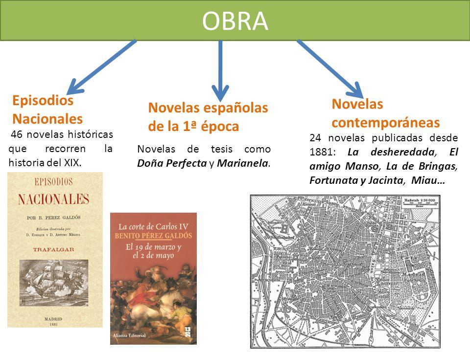 OBRA Episodios Nacionales Novelas españolas de la 1ª época Novelas contemporáneas 46 novelas históricas que recorren la historia del XIX. Novelas de t