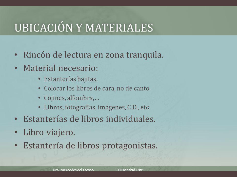 UBICACIÓN Y MATERIALESUBICACIÓN Y MATERIALES Rincón de lectura en zona tranquila.